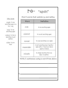 Prefix & Suffix Word Work Interactive Journal