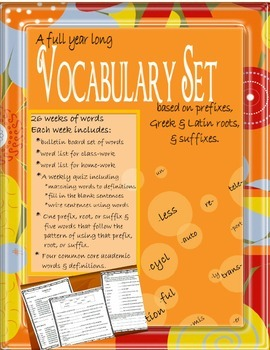 Prefix, Suffix, and Root Vocabulary Set with Bulletin Board Pieces