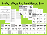 Prefix, Suffix, and Root Word Memory Game Activity