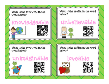 Prefix, Suffix and Root Word Self Checking QR Code Task Cards