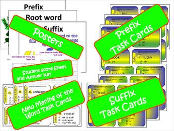 Prefix, Suffix and Root Word Task Cards and Activities