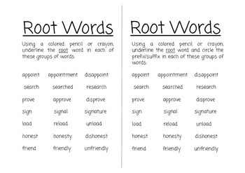 Prefix, Suffix and Root Words Freebie!