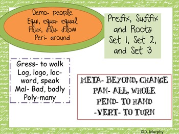 Prefix, Suffix and Roots Games and Practice for Grade 8