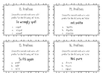Prefix Task Cards - Common Core Aligned