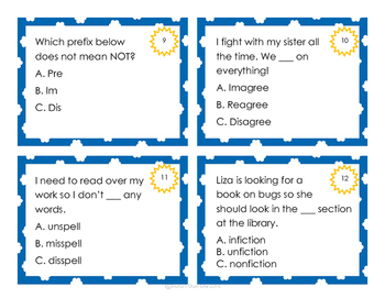 Prefix Task Cards, Matching, and Assessment