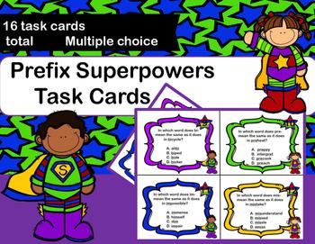 Prefix Task Cards - Superheroes