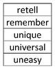 Prefix Teaching Activities