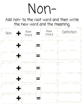 Prefix Un and Non Worksheet