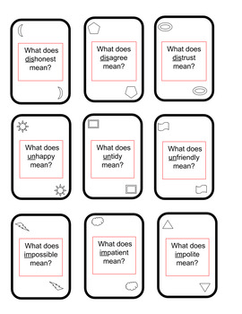 Prefix Vocab-O card game, similar to UNO