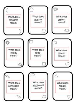 Prefix Vocab-O card game, similar to UNO