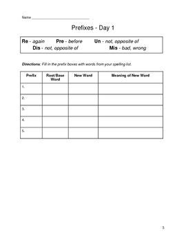 Prefix / Word Study Unit (easy)