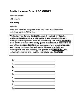Prefix Word Work BUNDLE Vocabulary/Morphology for older students.
