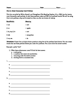 Prefix Worksheets