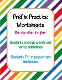Prefix Worksheets to Practice Un- Re- Dis- Pre- In-