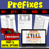 Prefix Worksheets (un, re, pre, mis, dis)