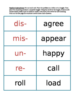 Prefix and Base Word Center