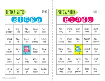 Prefix and Suffix Bingo Game Bundle