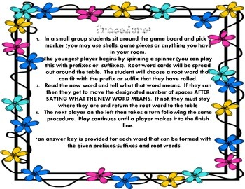 Prefix and Suffix Board Game - Spring Themed