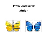 Prefix and Suffix Butterfly Word and Meaning Match