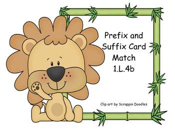 Prefix and Suffix Card Match Common Core