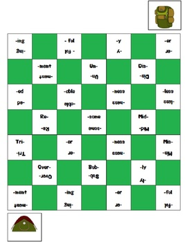 Prefix and Suffix Checkers Game (Camping theme)