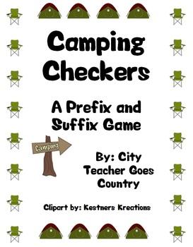 Prefix and Suffix Checkers Game (Camping theme)