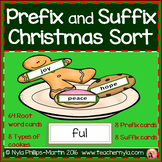 Prefix and Suffix Christmas Matching to Root Word Activity
