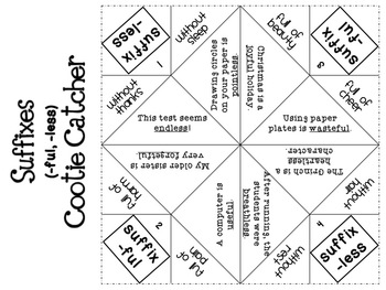 Prefix and Suffix Cootie Catchers {Fortune Tellers}