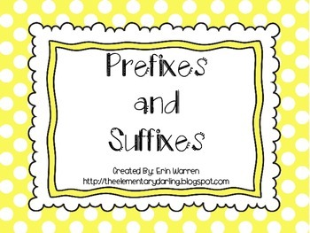 Prefix and Suffix Definition cut and paste