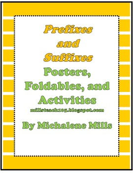 Prefix and Suffix Foldable, Posters, and Activities