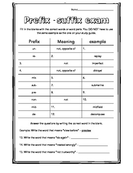 Prefix and Suffix - Graphic Organizer, Study Guide, Exam and Activity