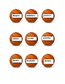 Prefix and Suffix Hoops Game- Aligned with Common Core