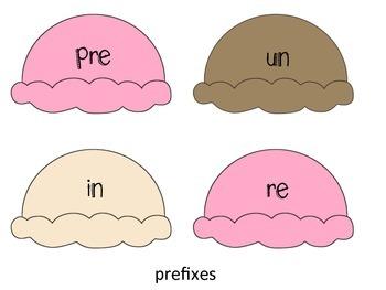 Prefix and Suffix Ice Cream Match