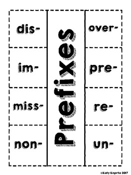 Prefix and Suffix Interactive Notebook Flaps