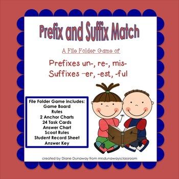 Prefix and Suffix Match - file folder game