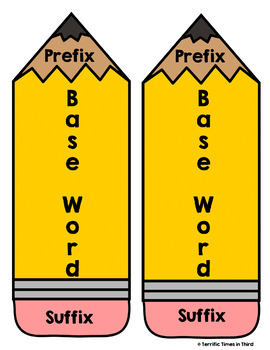 Prefix & Suffix Pencils (Bundle): Posters, Worksheets, and Matching Games