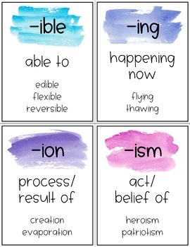 Prefix and Suffix Posters {Watercolor}