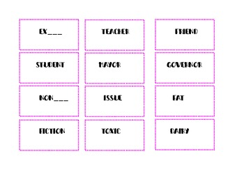 Prefix and Suffix Posters with Base Word Cards