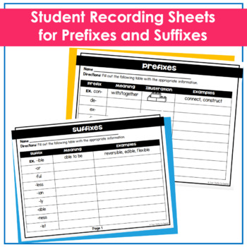 Prefixes and Suffixes Posters with Fill-in Worksheet