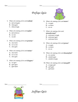 Prefix And Suffix Quiz Worksheets & Teaching Resources | TpT