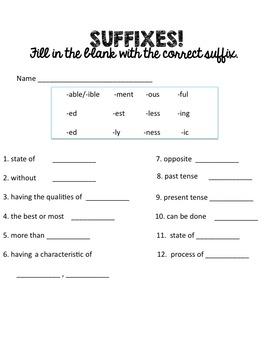 Prefix and Suffix Review (IREAD 3 prep)