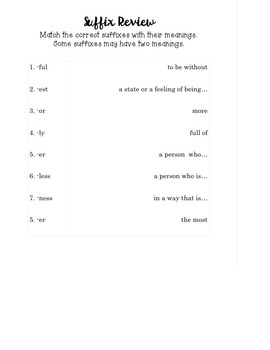 Prefix and Suffix Review Practice