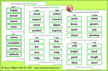 Prefix and Suffix Spring Themed Matching to Root Word Activity