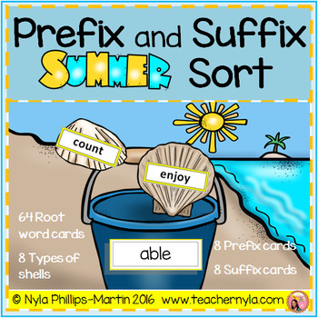 Prefix and Suffix Summer Matching to Root Word Activity