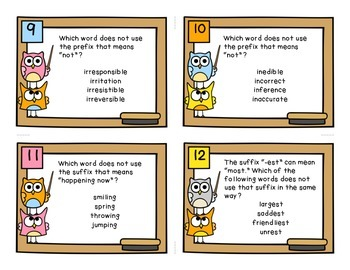 Prefix and Suffix Task Cards