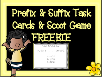 Prefix & Suffix Task Cards and Scoot Game Freebie by Stephanie Ann