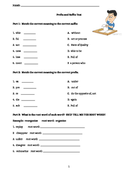 Prefix and Suffix Test/Quiz