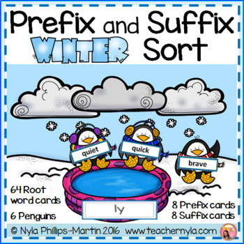 Prefix and Suffix Winter Matching to Root Word Activity
