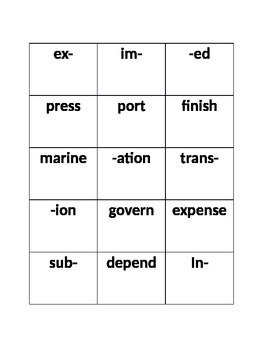 Prefix and Suffix Word Building