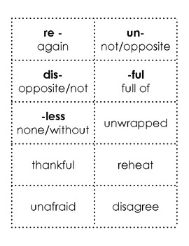 Prefix and Suffix Word Cards